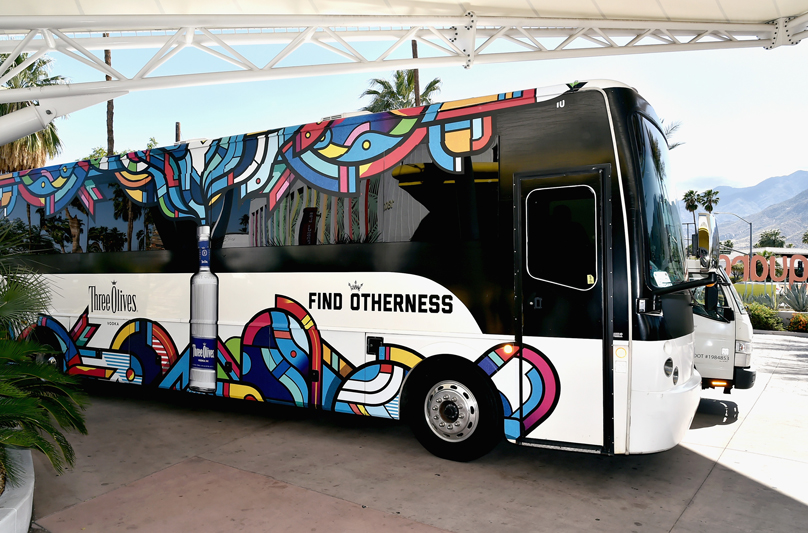 PALM SPRINGS, CA - APRIL 13:  Tour bus atmosphere at Three Olives® Vodka Find Otherness Thursday, April 13, 2017 at The Saguaro hotel, Palm Springs.  (Photo by David Crotty/WireImage)