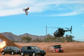 "Wienerschnitzel Athletes Travis Pastrana, Trevor Jacob, Vicki Golden and Phil Smage Send it in ""Action Figures 2"""